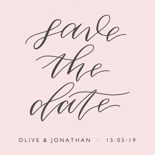 Save The Date Pink Calligraphy
