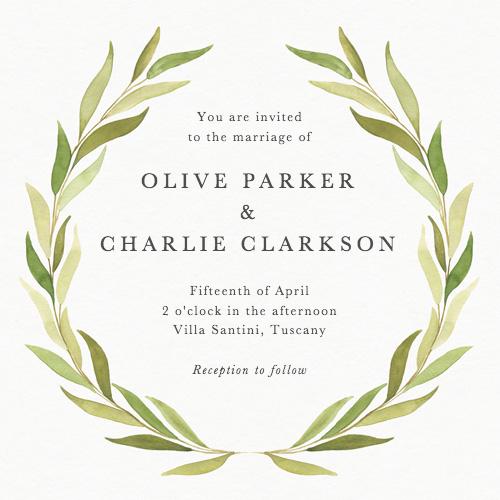 Olive Wreath Wedding Invitation Papier