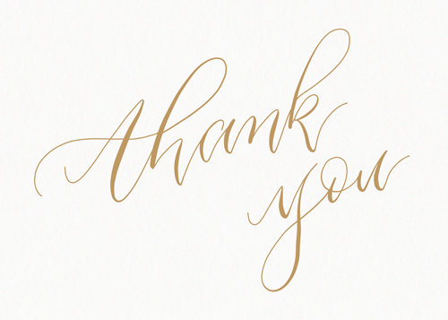 Thank You Calligraphy Gold Thank You Card Set Papier