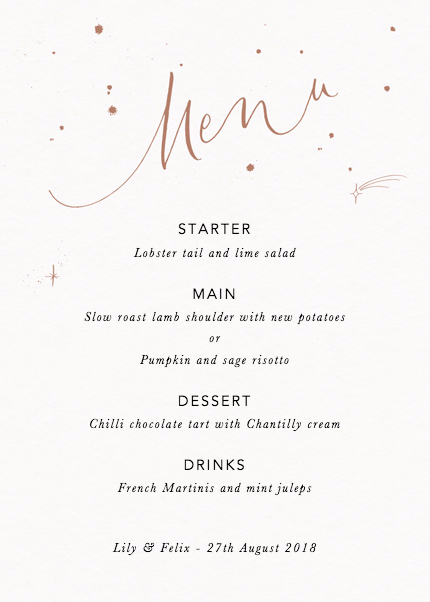 Menu Starry Bronze