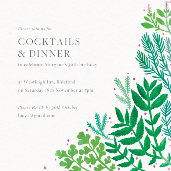 Evergreen | Personalised Party Invitation