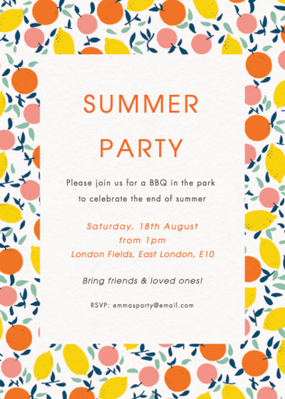Citrus | Personalised Party Invitation