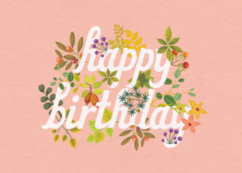 Blush Autumnal Foliage | Personalised Birthday Card