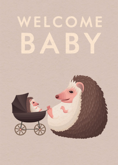 Baby Hedgehog | Personalised Congratulations Card