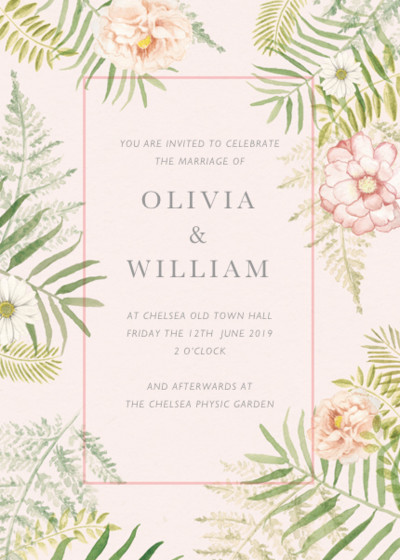 Tropical Floral | Personalised Wedding Invitation