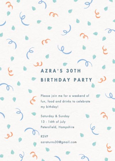 Confetti | Personalised Party Invitation