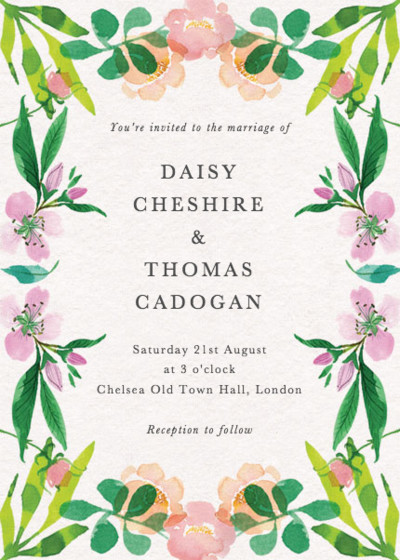 Spring Roses | Personalised Wedding Invitation