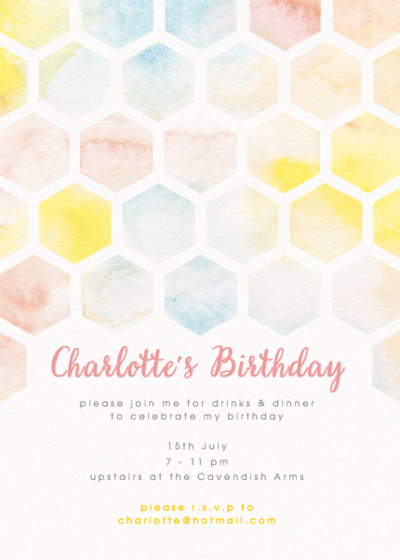 Honeycomb Watercolour | Personalised Party Invitation