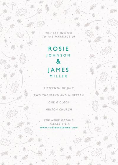 Fine Leaves | Personalised Wedding Invitation