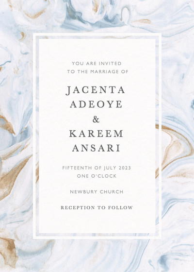 Marbled Bleu | Personalised Wedding Invitation