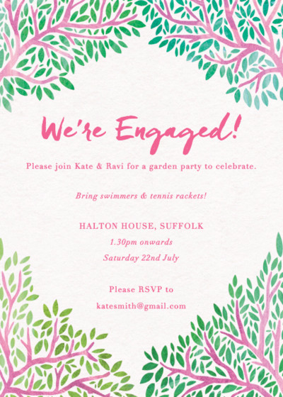 Pink Branches | Personalised Party Invitation