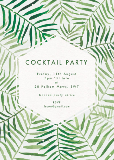 Palms | Personalised Party Invitation