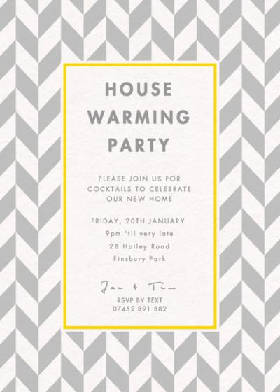 Grey Herringbone | Personalised Party Invitation