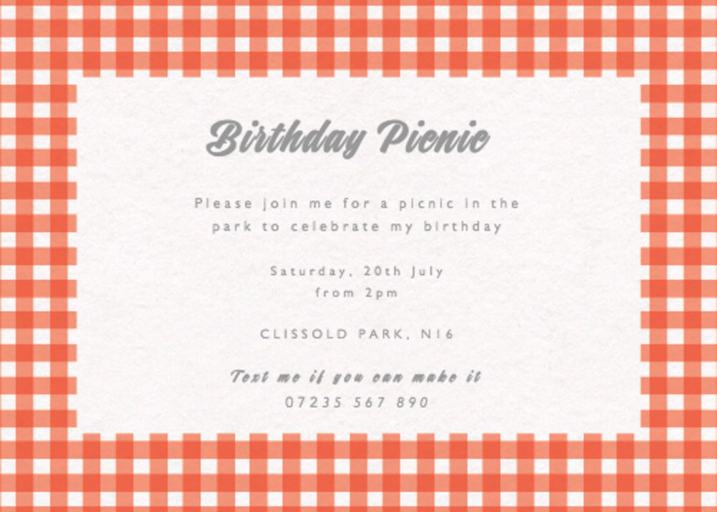 Gingham | Personalised Party Invitation