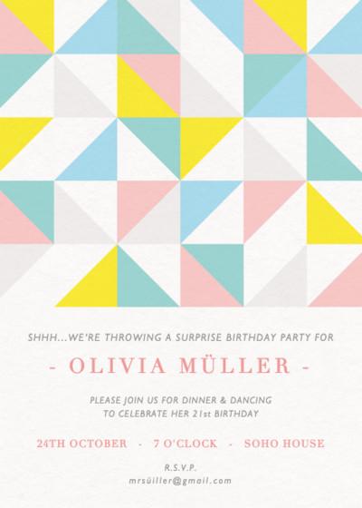 Geometric | Personalised Party Invitation