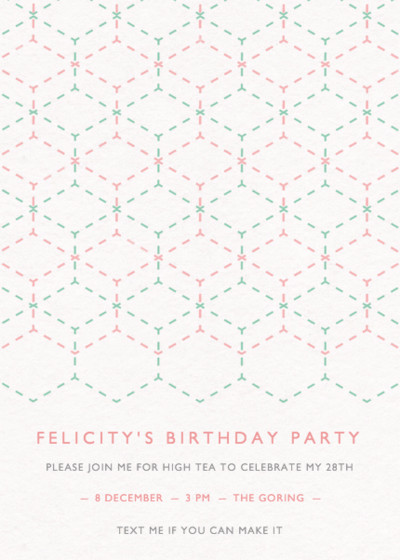 Geometric Lace | Personalised Party Invitation