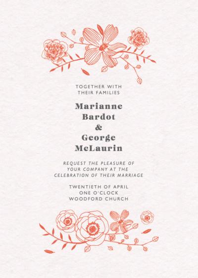 Coral Fleur | Personalised Wedding Invitation