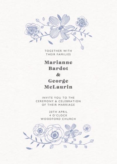 Blue Flora | Personalised Wedding Invitation