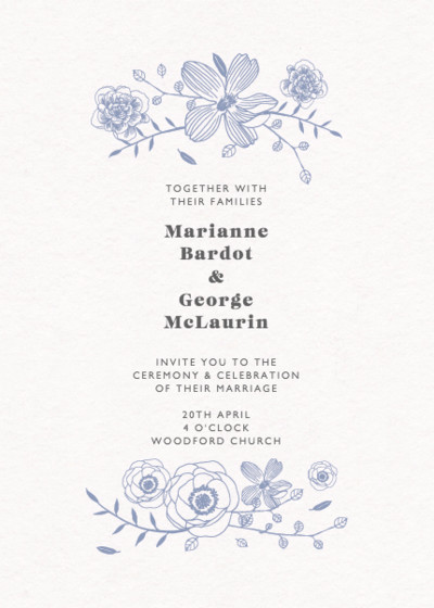 Blue Flora | Personalised Wedding Invitation