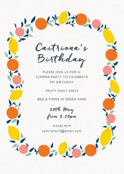 Citrus Garland | Personalised Party Invitation