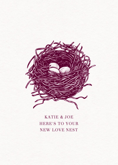 Love Nest   Personalised Congratulations Card