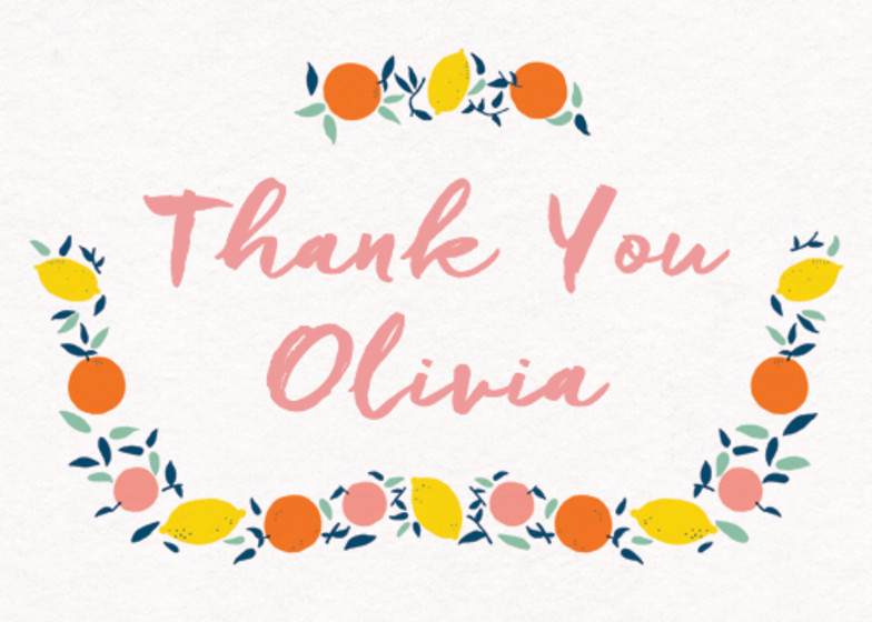 Citrus Thank You | Personalised Greeting Card