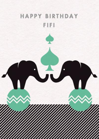 Pair of Elephants   Personalised Birthday Card
