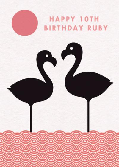 Pair of Flamingos   Personalised Birthday Card