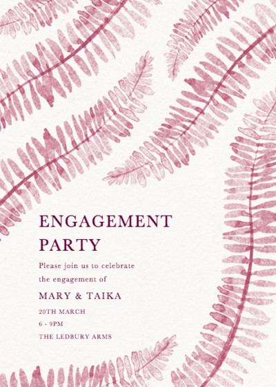 Pink Ferns | Personalised Party Invitation