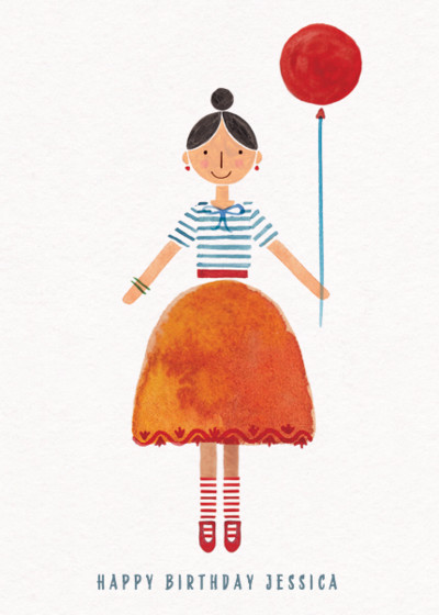 A Lady and Her Balloon | Personalised Birthday Card