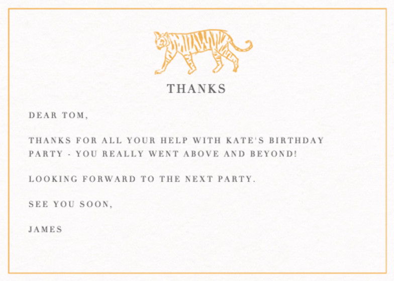 Tiger | Personalised Thank You Card