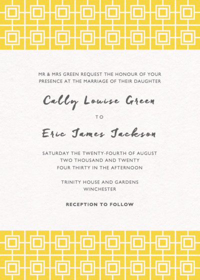 Yellow Mosaic | Personalised Wedding Invitation