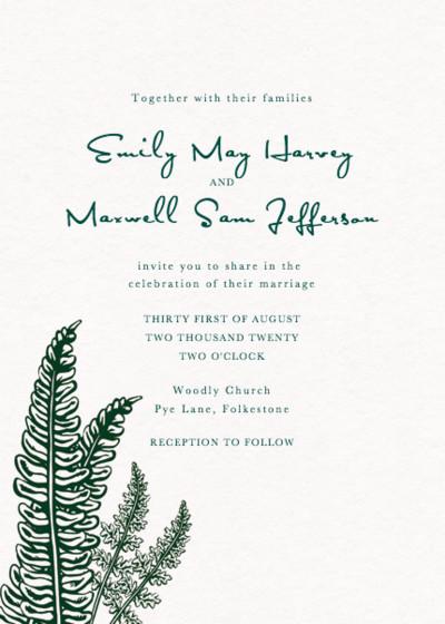 Ferns | Personalised Wedding Invitation