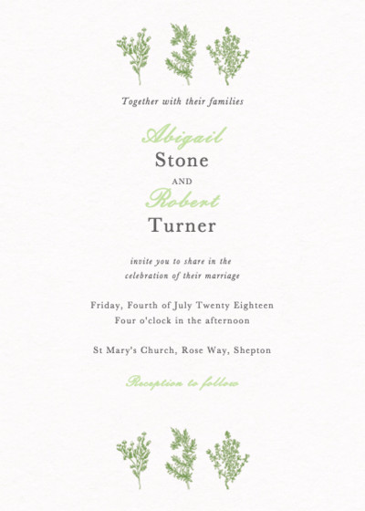 Sprigs | Personalised Wedding Invitation