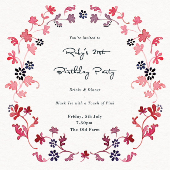 Floral Garland | Personalised Party Invitation