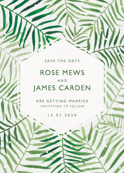 Palms | Personalised Save The Date