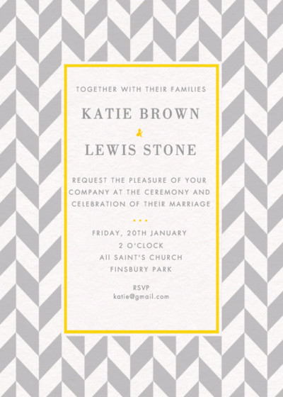 Grey Herringbone   Personalised Wedding Invitation