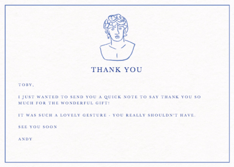 Antinous | Personalised Thank You Card