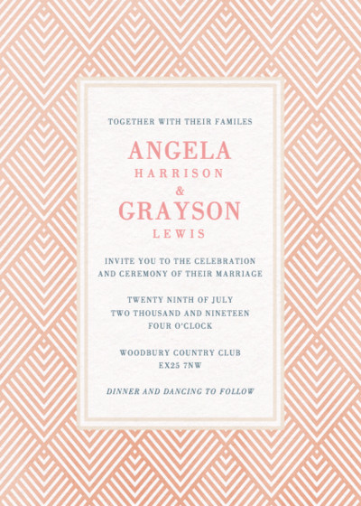 Pink Diamonds | Personalised Wedding Invitation