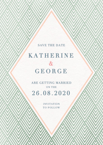 Green Diamonds | Personalised Save The Date