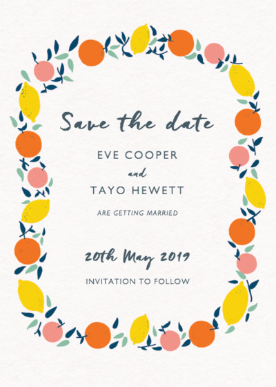 Citrus Garland | Personalised Save The Date