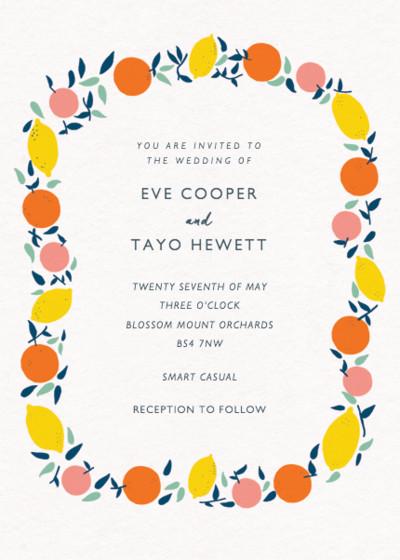 Citrus Garland | Personalised Wedding Invitation