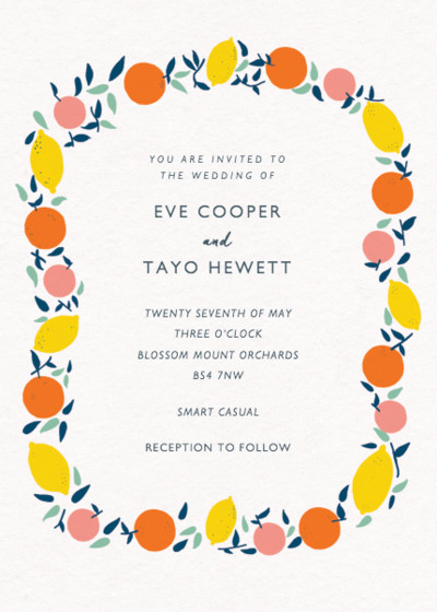Citrus Garland | Personalised Wedding Invitation