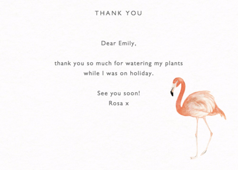 Pink Flamingo | Personalised Thank You Card