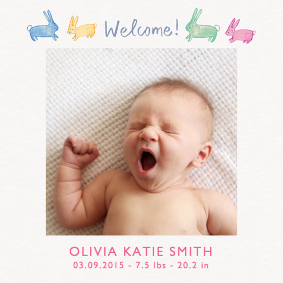Welcome Bunny Photo | Personalised Greeting Card