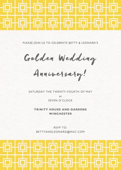Yellow Mosaic | Personalised Anniversary Invitation