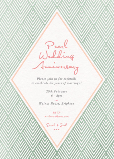 Green Diamonds | Personalised Anniversary Invitation