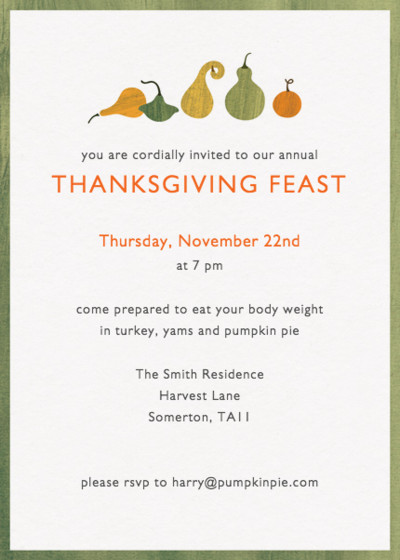 Thanksgiving Gourds | Personalised Party Invitation