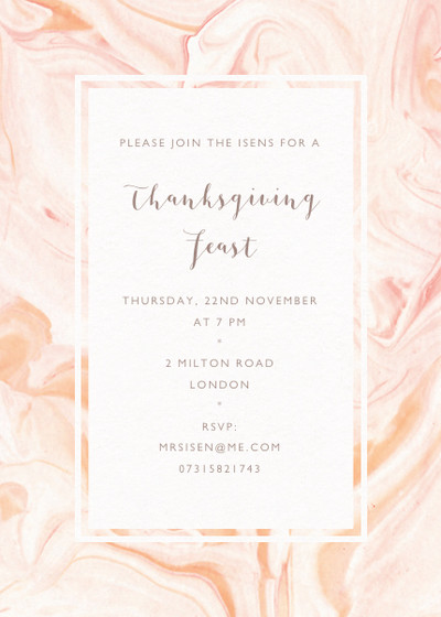 Thanksgiving Marble | Personalised Party Invitation