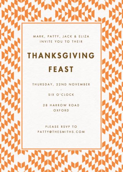 Thanksgiving Geo | Personalised Party Invitation